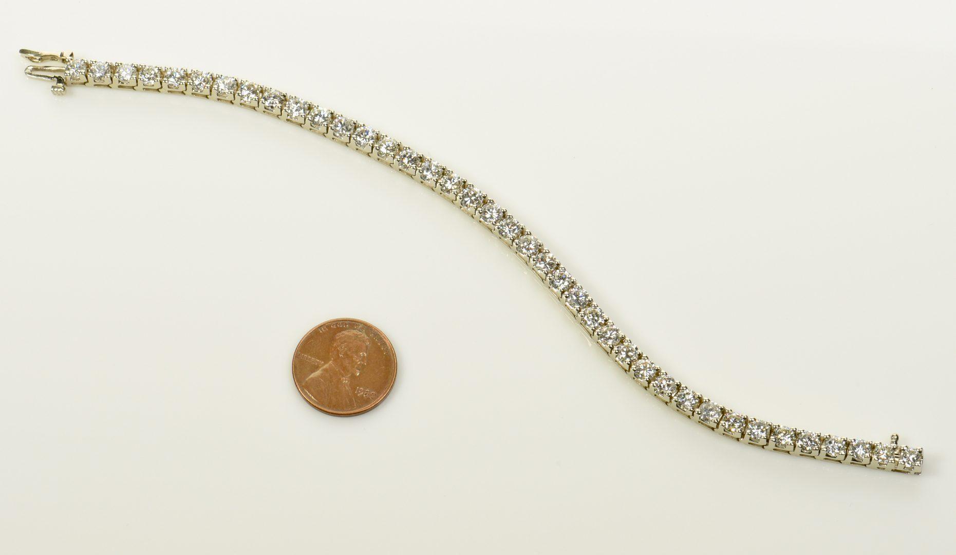 Lot 397: 14K Diamond Line Bracelet, 39 diamonds
