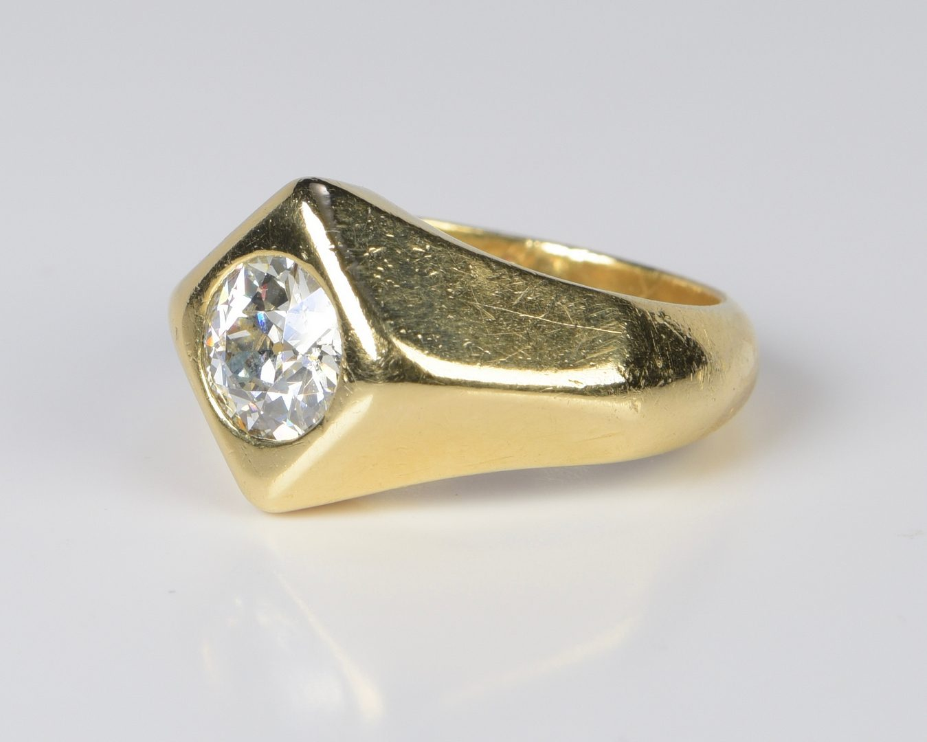 Lot 398: Gent's 14K 1.57 ct OEC Diamond Ring