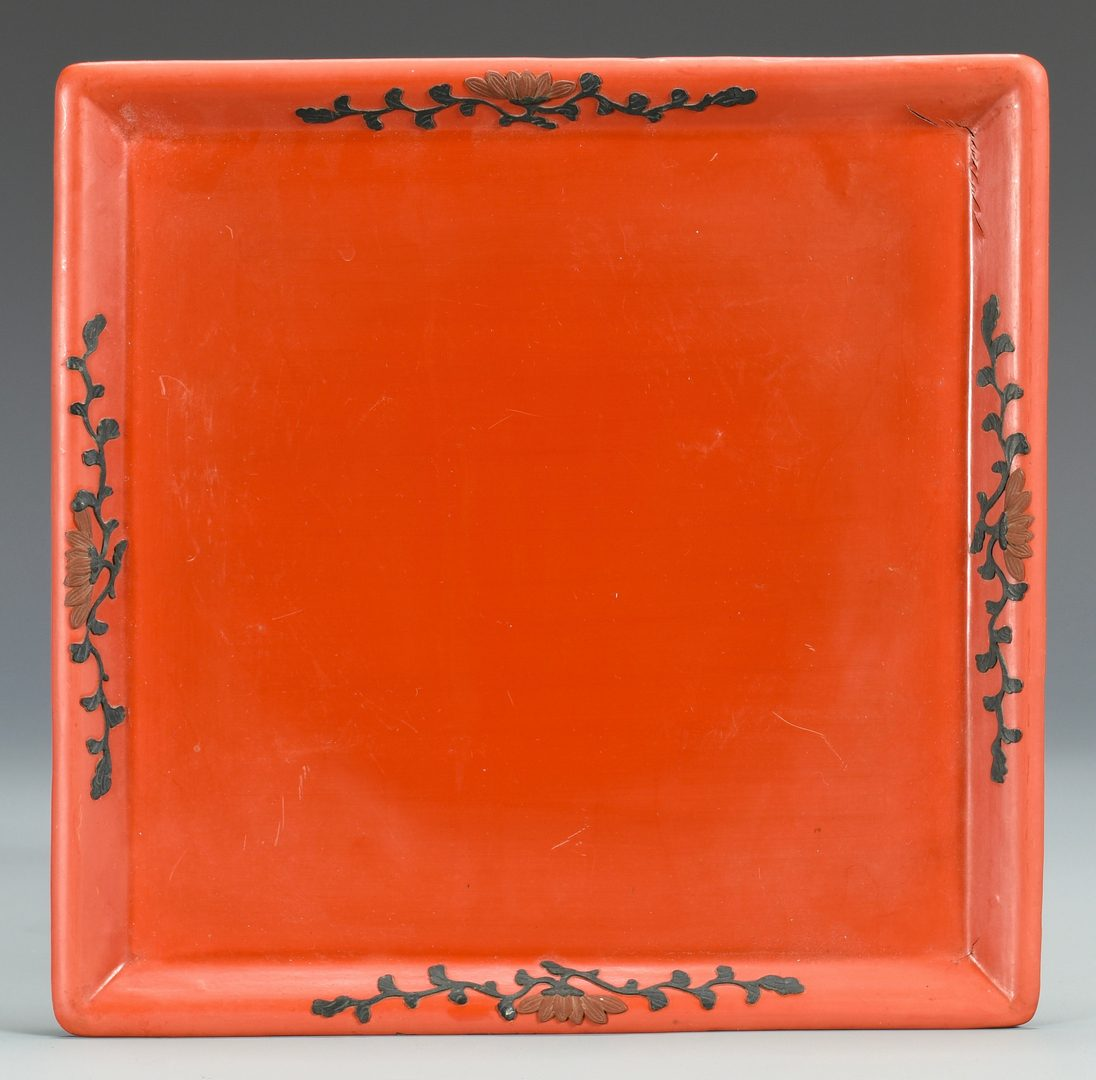 Lot 3: Diao Tian Lacquer Covered Box with Under Tray