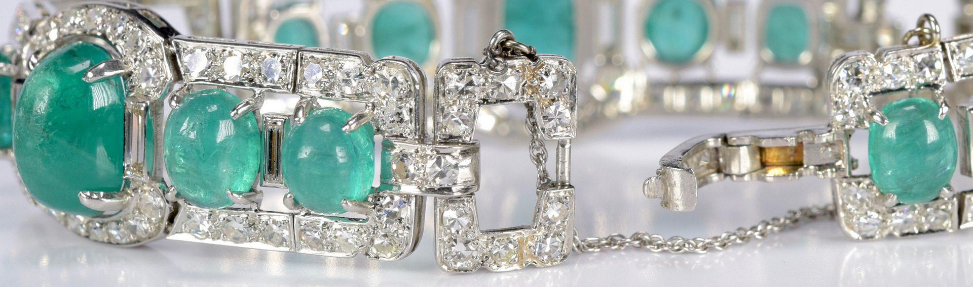 Lot 401: Art Deco Emerald and Diamond Bracelet