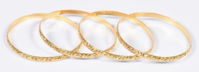 Lot 406: Set 4 Vintage 18K Bangle Bracelets