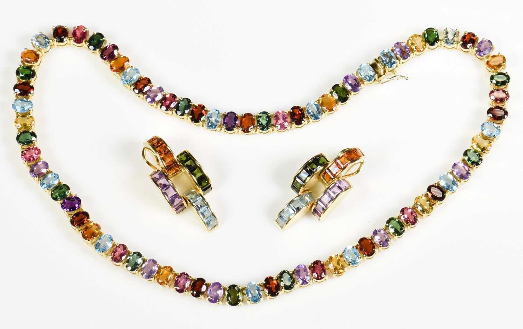 Lot 409: 18K Multi Gem Necklace/Earring Set
