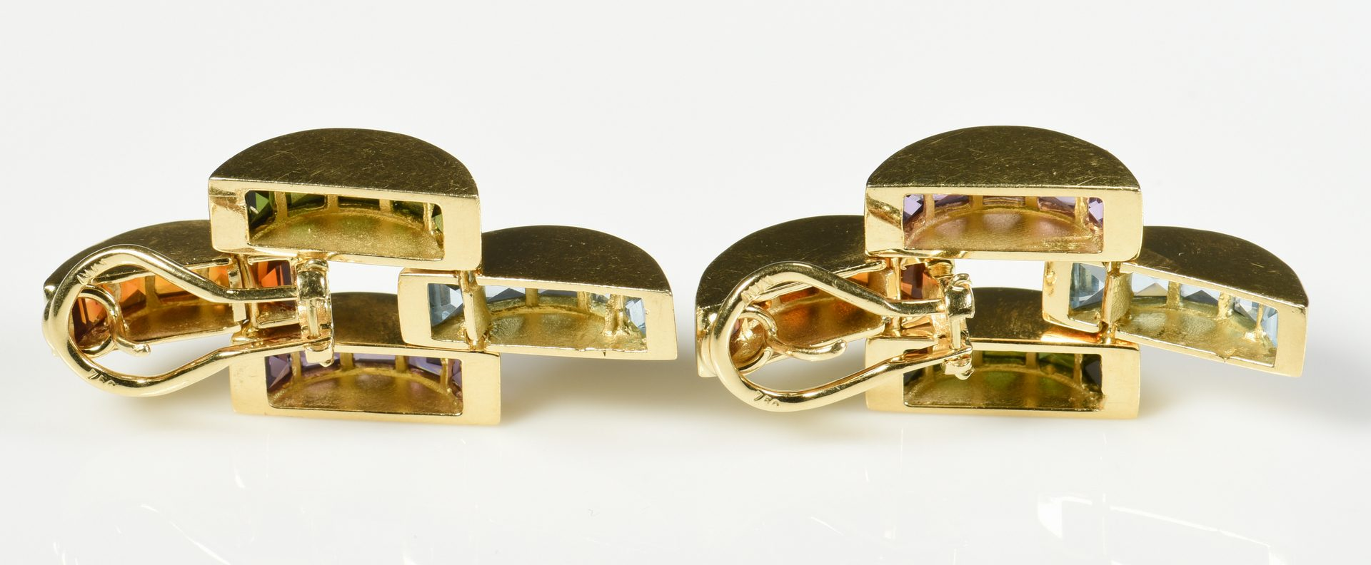 Lot 409: 18K Multi Gem Necklace/Earring Set
