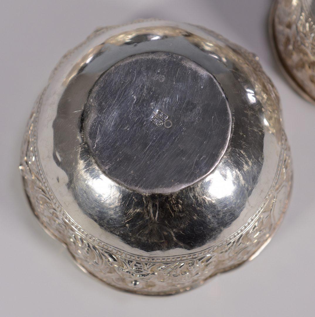 Lot 40: Six Asian Silver Bowls w/gilt interiors