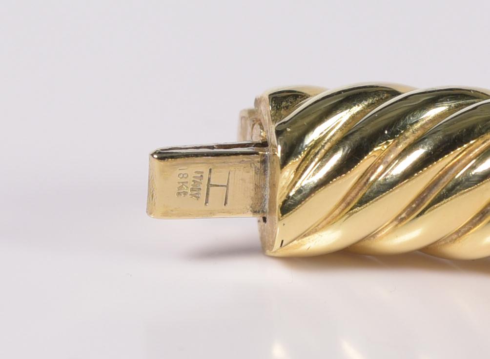 Lot 410: 18K Italian Twist Cable Bangle Bracelet