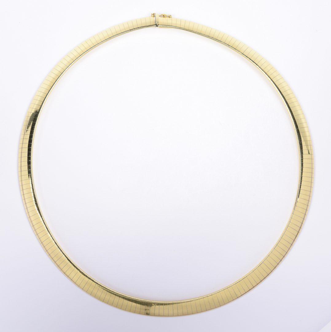 """Lot 413: 18K Omega Collar Necklace, 17"""" L"""