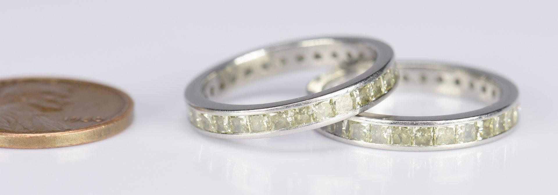 Lot 415: Pair Yellow Diamond Platinum Eternity Rings
