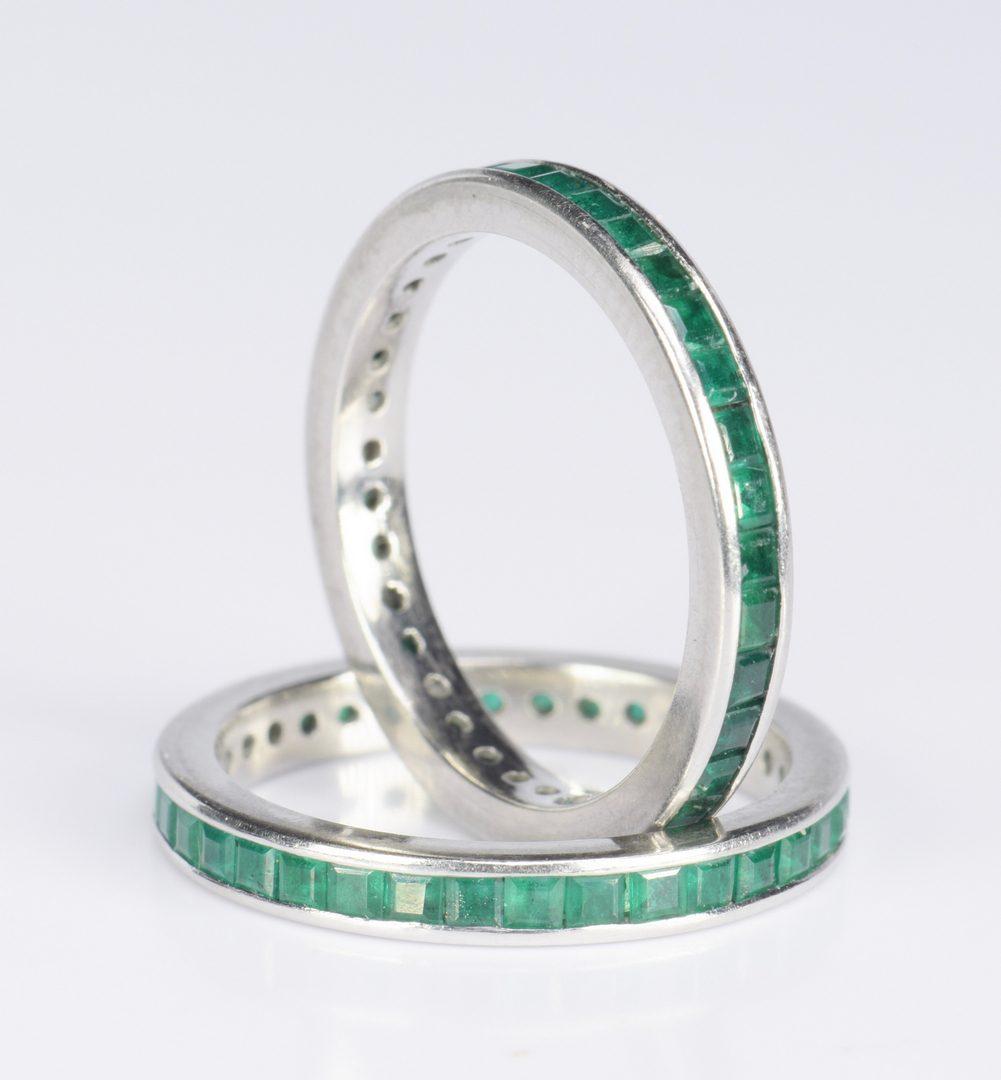 lot 416 pair emerald and platinum eternity rings