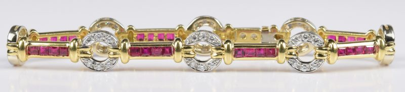 Lot 417: Ruby and Diamond 18K Link Bracelet