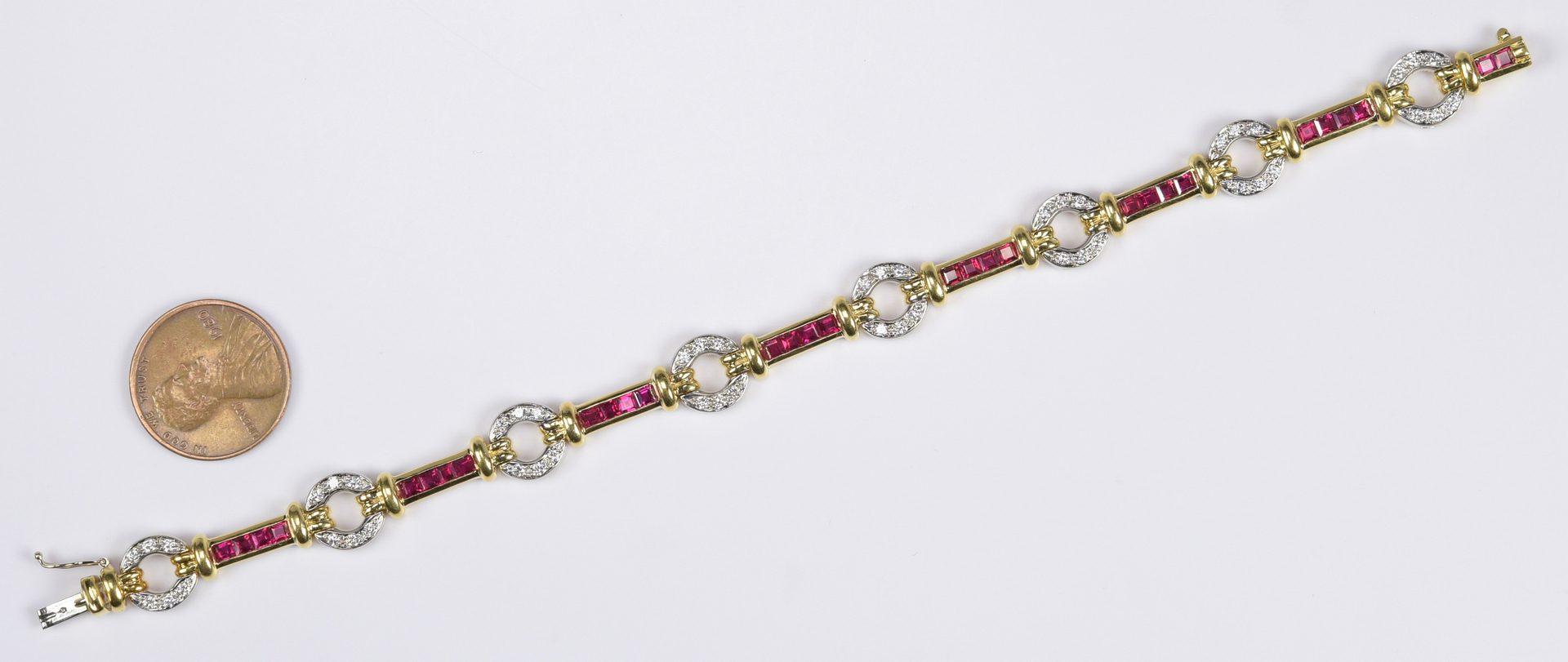 Lot 417: Ruby and Diamond 18K Link Bracelet