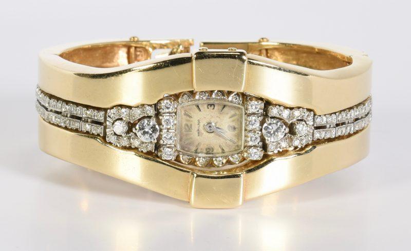 Lot 420: Diamond Hamilton Watch, 14K Jacket, 97 g