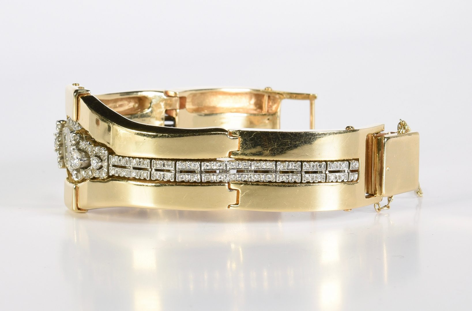 Lot 420: Diamond Hamilton Watch, 14K Jacket, 97 g