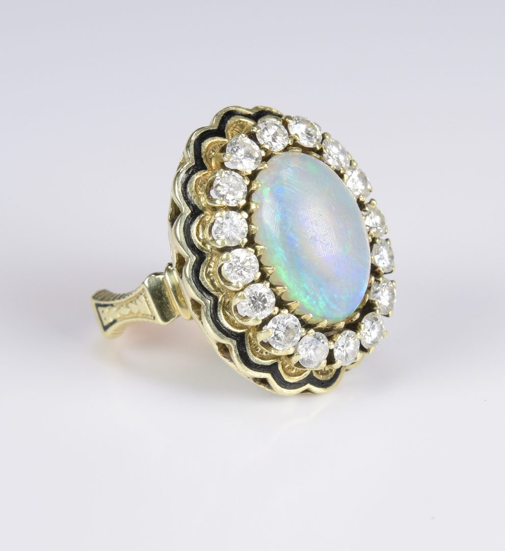 Lot 421: 14K Opal Diamond Dinner Ring