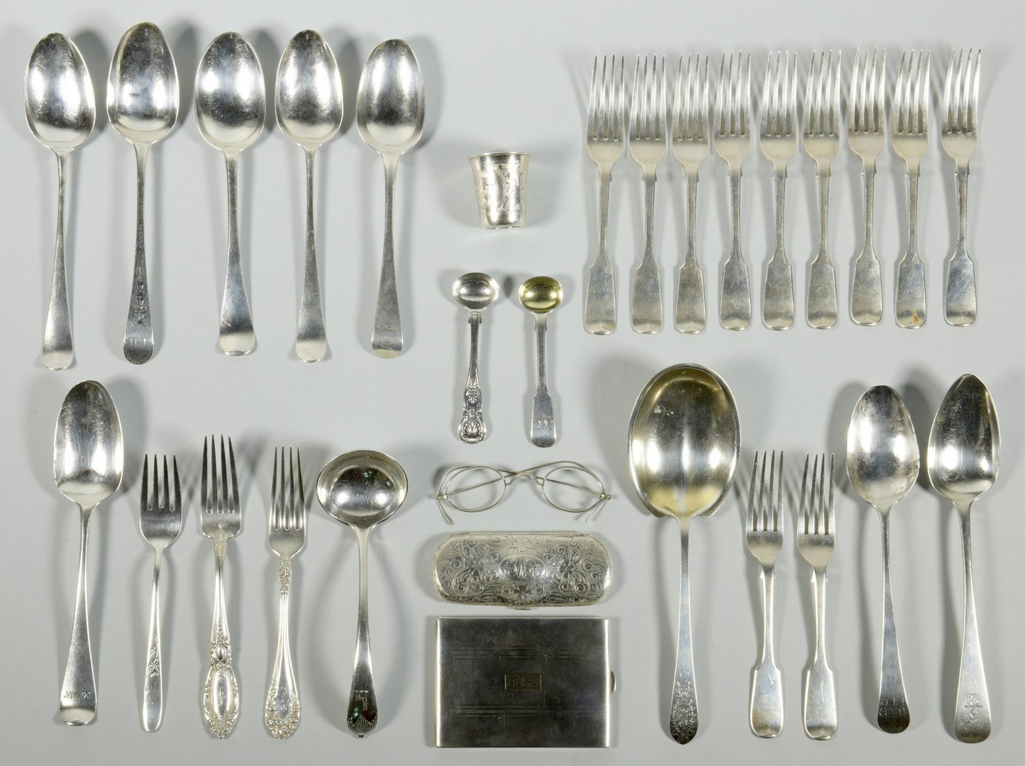 Lot 43: Assd. Silver inc. Flatware, Russian Cup – 29 pcs