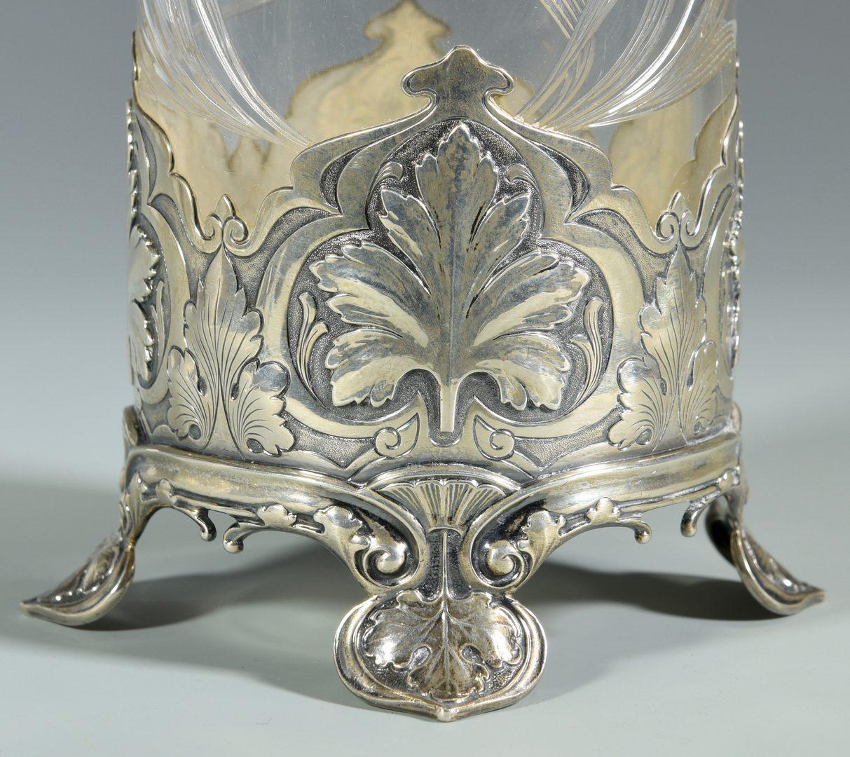 Lot 445: Gorham Sterling & Glass Vase