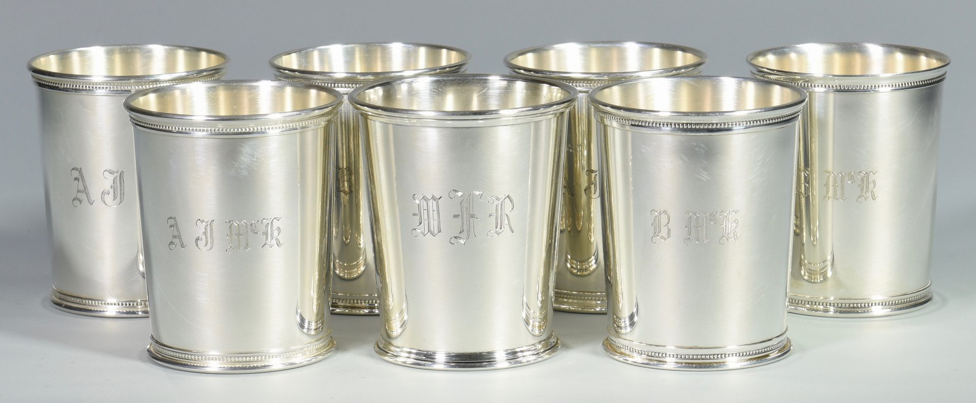 Lot 454: 6 Reed & Barton Sterling Julep Cups Plus 1 other