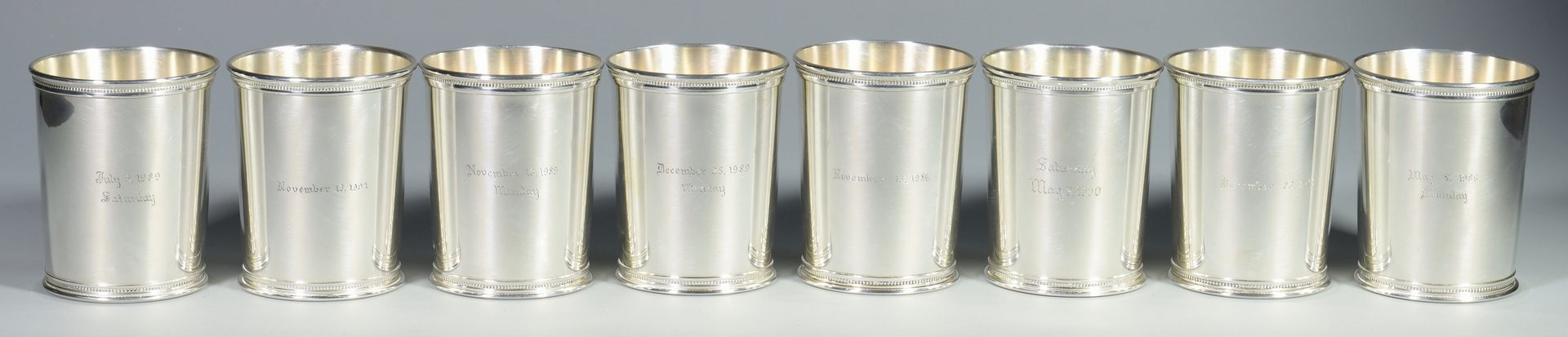 Lot 455: 8 Reed & Barton Sterling Julep Cups
