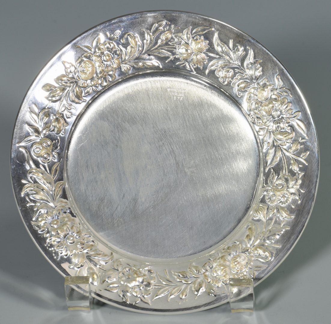 Lot 456: 14 Kirk Stieff Repousse Sterling Bread Plates