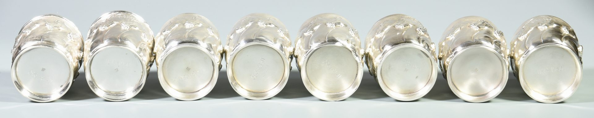 "Lot 45: 8 Galmer Sterling ""Horses"" Julep Cups"