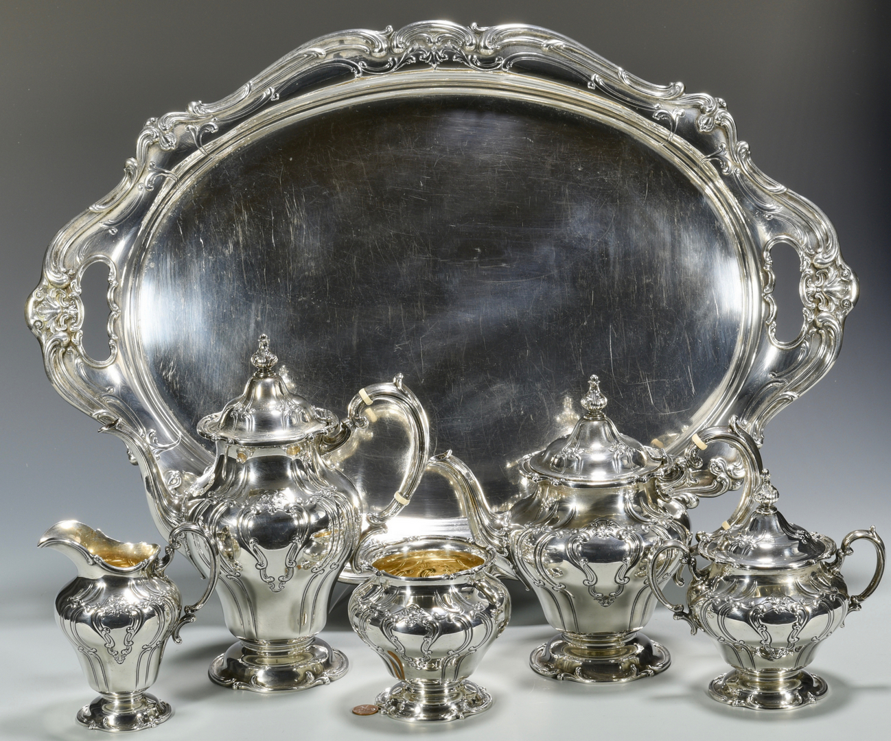 Lot 46 Gorham Chantilly Sterling Tray Amp Tea Set