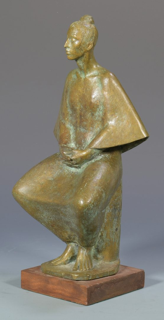 Lot 478: Mid-Century Bronze sculpture, Seated Woman