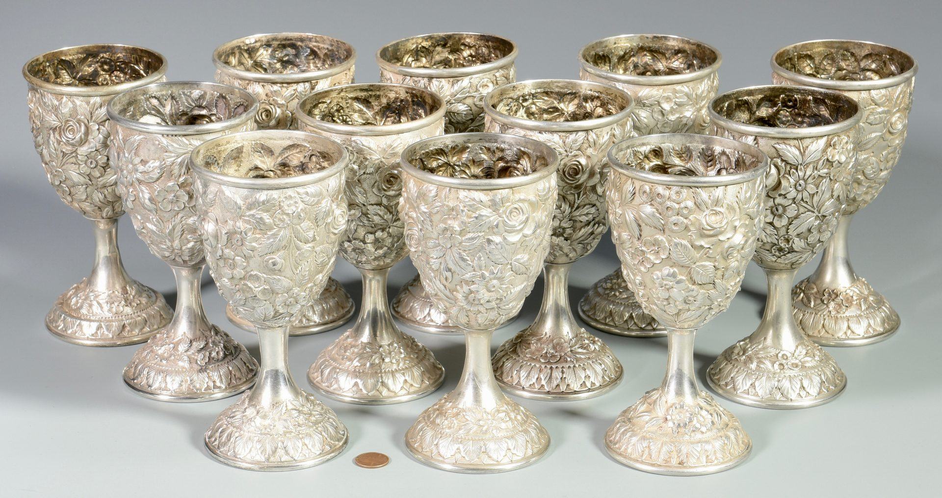 Lot 47: 12 Baltimore Sterling Silver Repousse Goblets