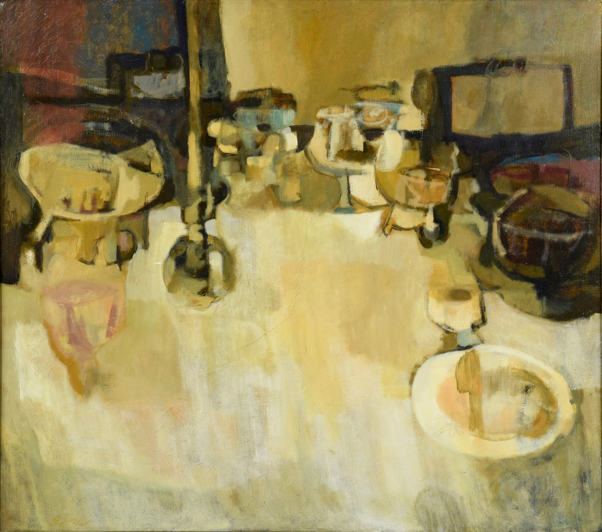 Lot 483: Emery Bopp oil on canvas, Table D'Hote