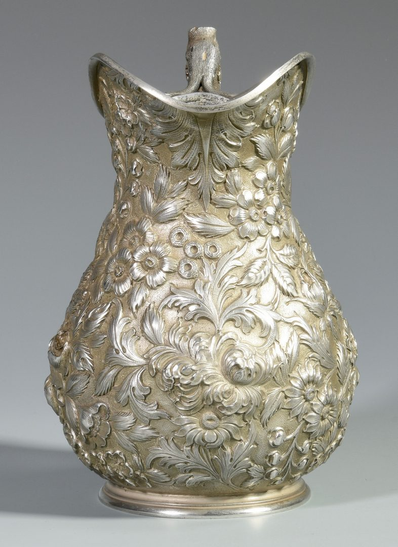 Lot 48: Baltimore Sterling Silver Repousse Floral Pitcher