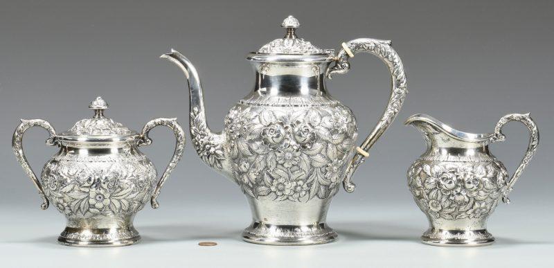 Lot 49: S. Kirk & Son 3 Pc. Repousse Tea Service