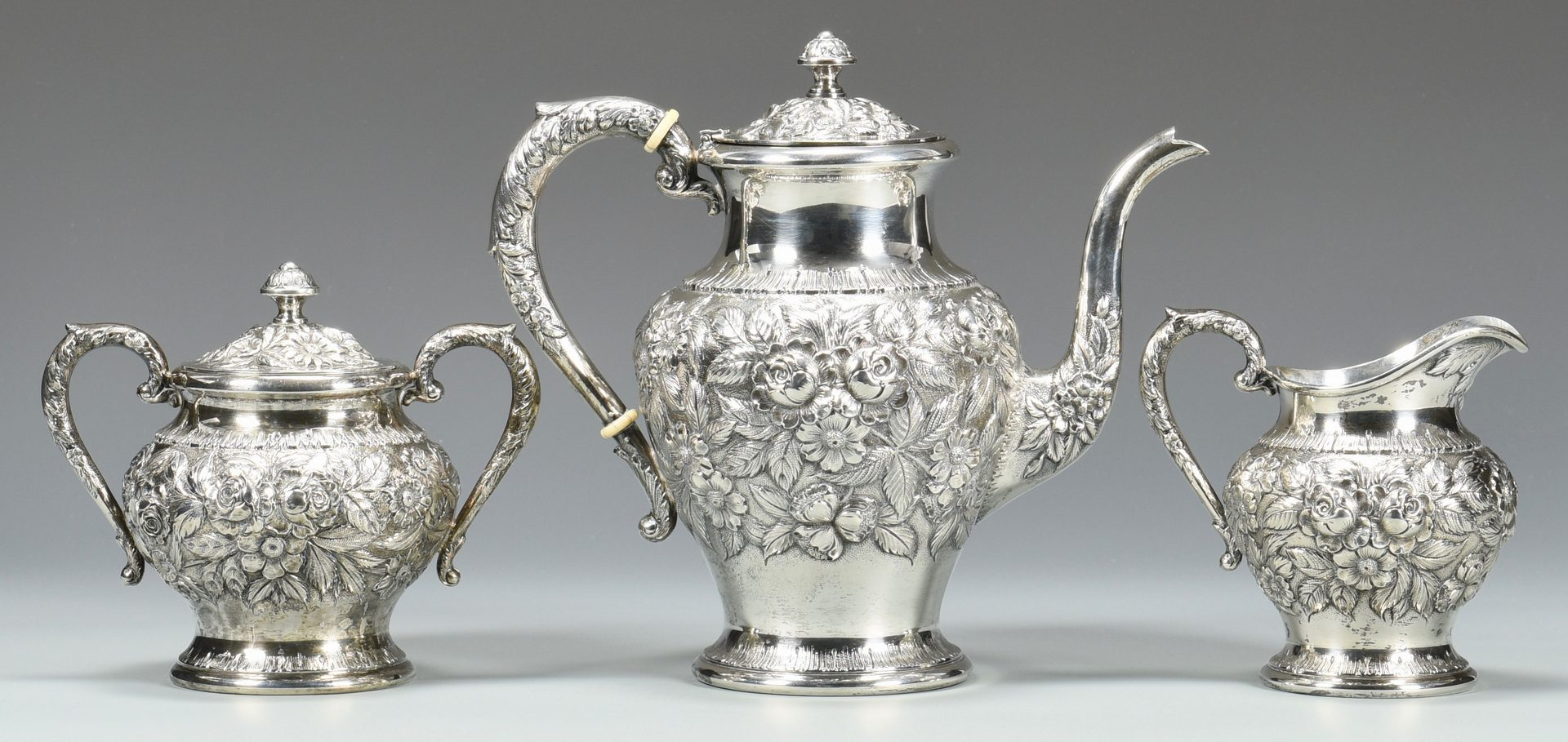 Lot 49: S. Kirk & Son 3 Pc. Repousse Tea Service