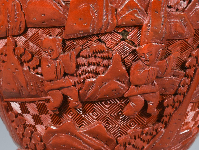 Lot 4: Chinese Cinnabar Vases & Box