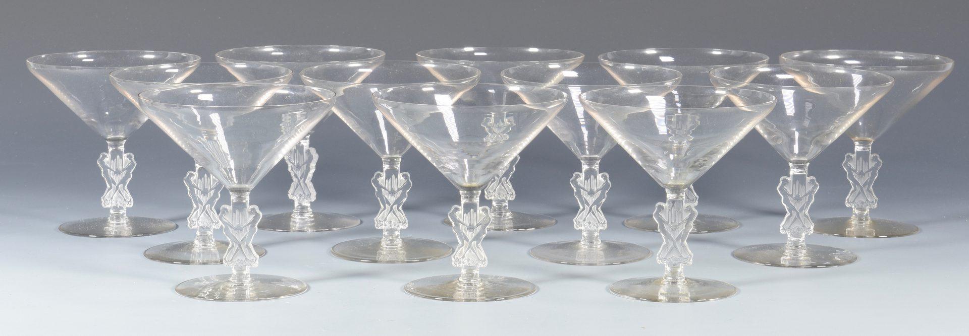 Lot 500: 12 Lalique Art Deco Goblets