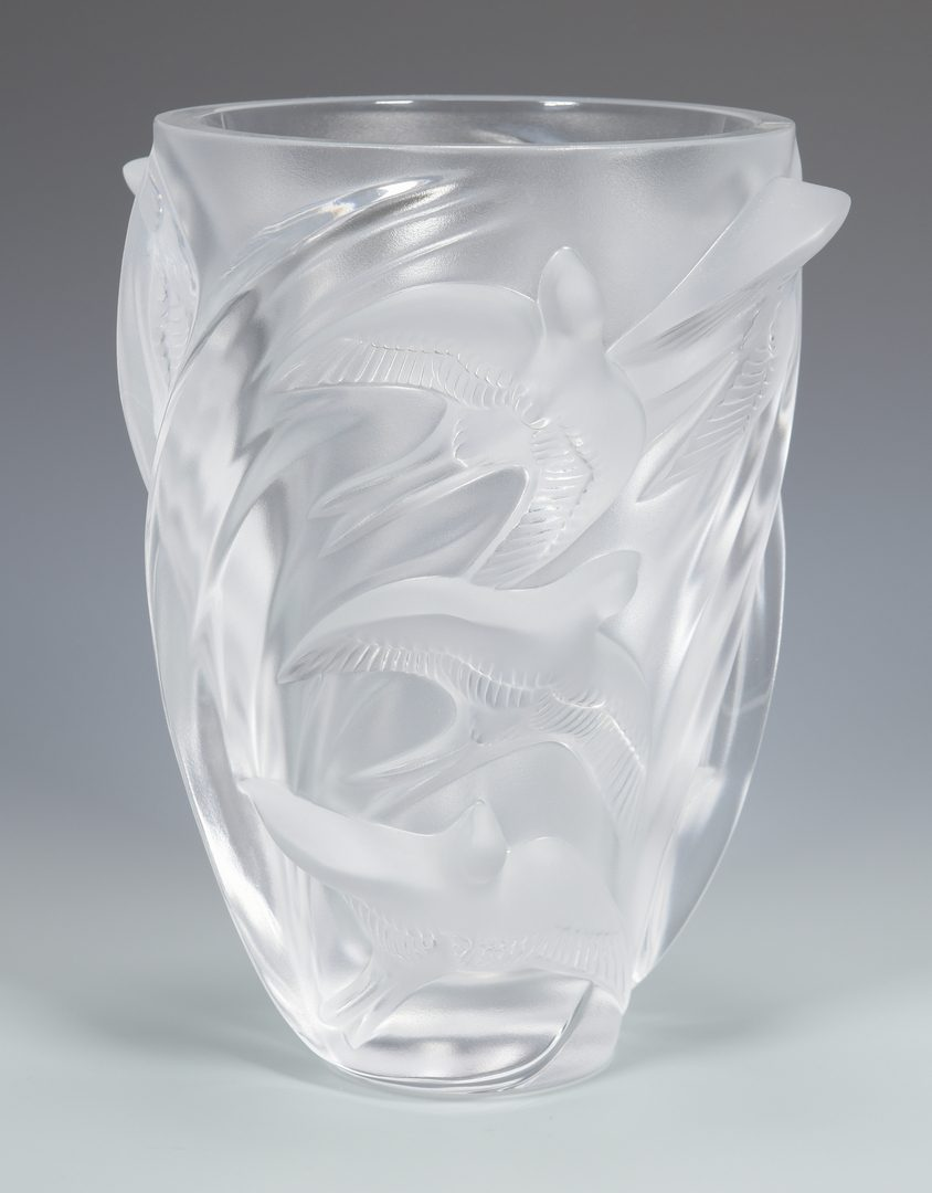 "Lot 504: Lalique ""Martinets"" Glass Vase"