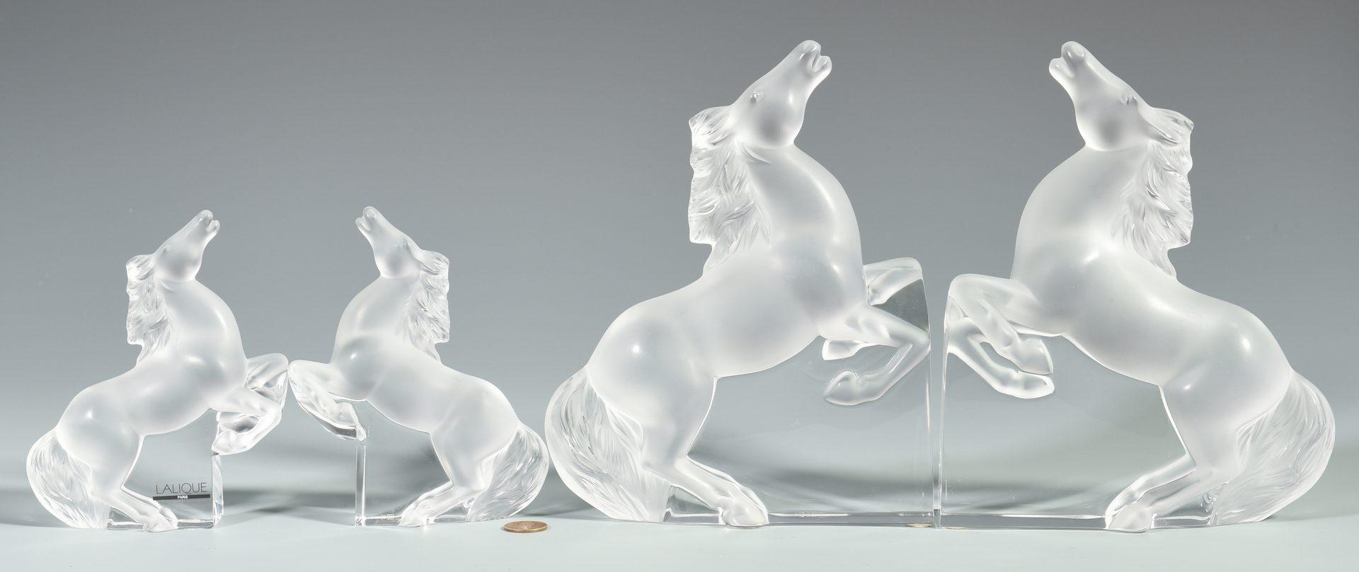Lot 505: 2 Prs. Lalique Horse Glass Bookends