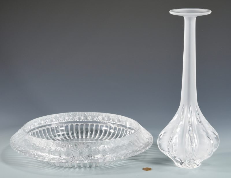 Lot 506: Lalique Vase & Marguerite Bowl