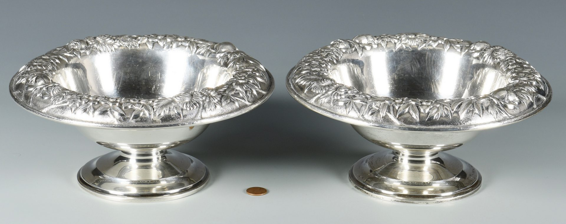 Lot 50: Pair S. Kirk & Son Repousse Sterling Compotes