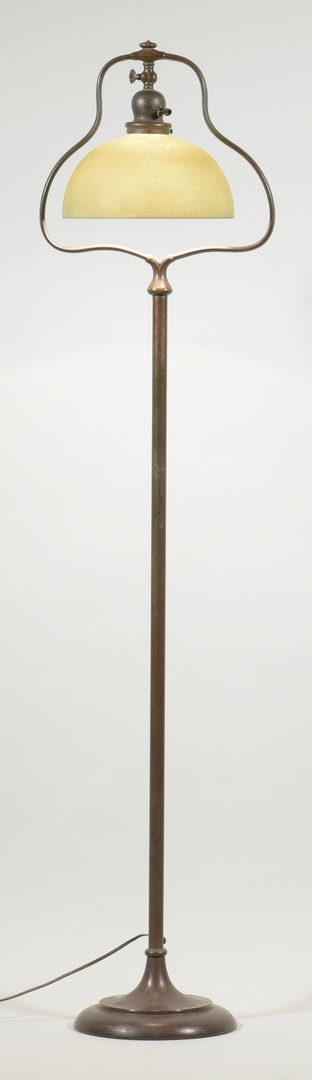 Lot 510: Handel Bronze Floor Lamp & Mosserine Shade