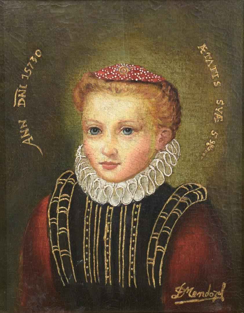 Lot 516: Pair of Diana Mendoza Child Portraits