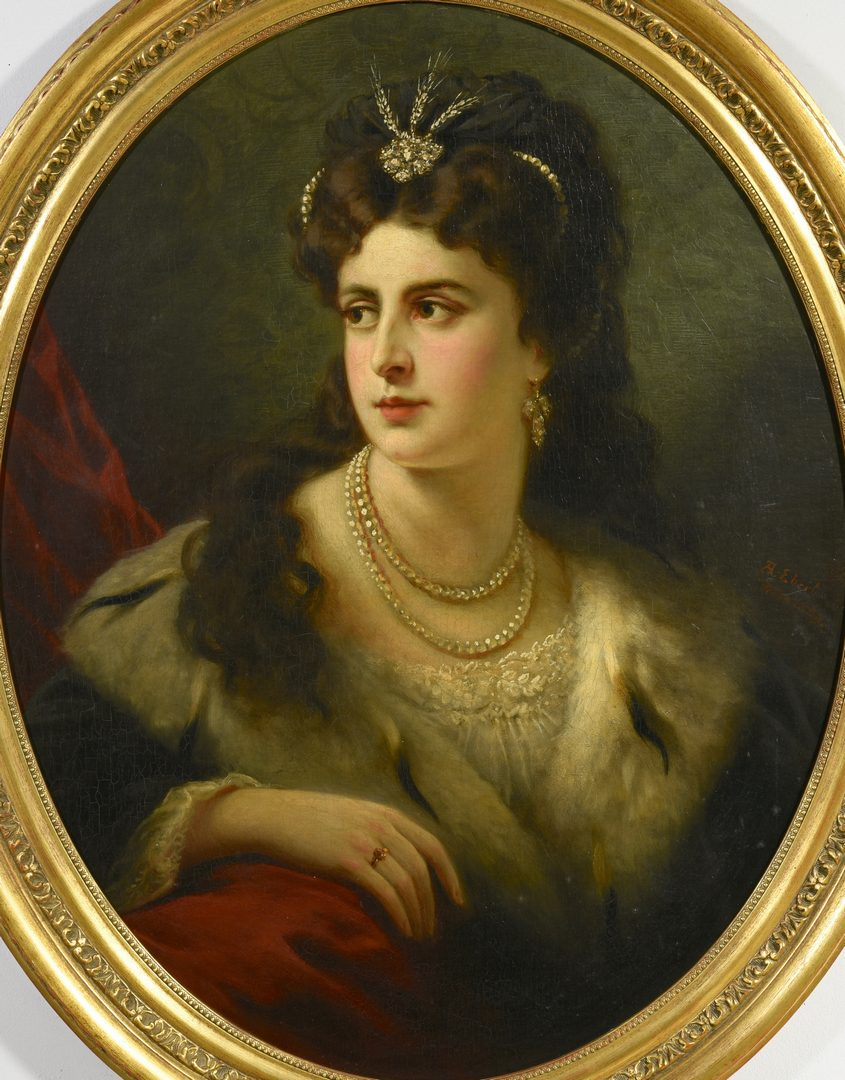 Lot 519: Anton Ebert, Portrait of Lady in Ermine Fur