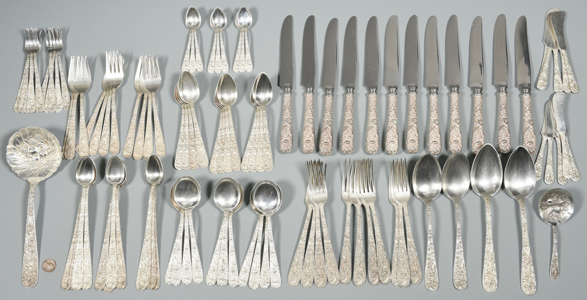 Lot 51: Kirk Stieff Sterling, Repousse Pattern, 104 pcs