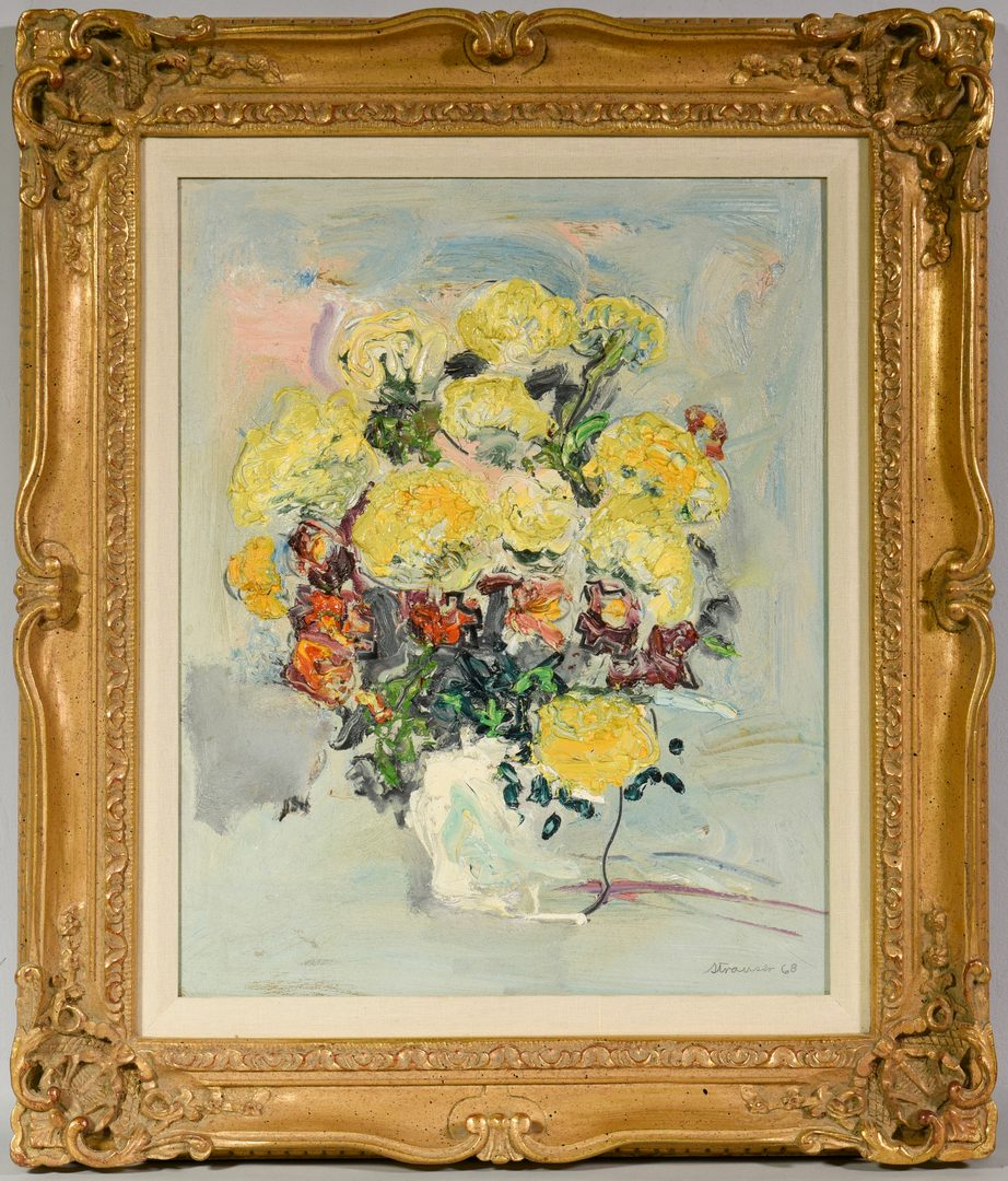 Lot 521: Sterling Strauser Oil on Board Floral Still Life