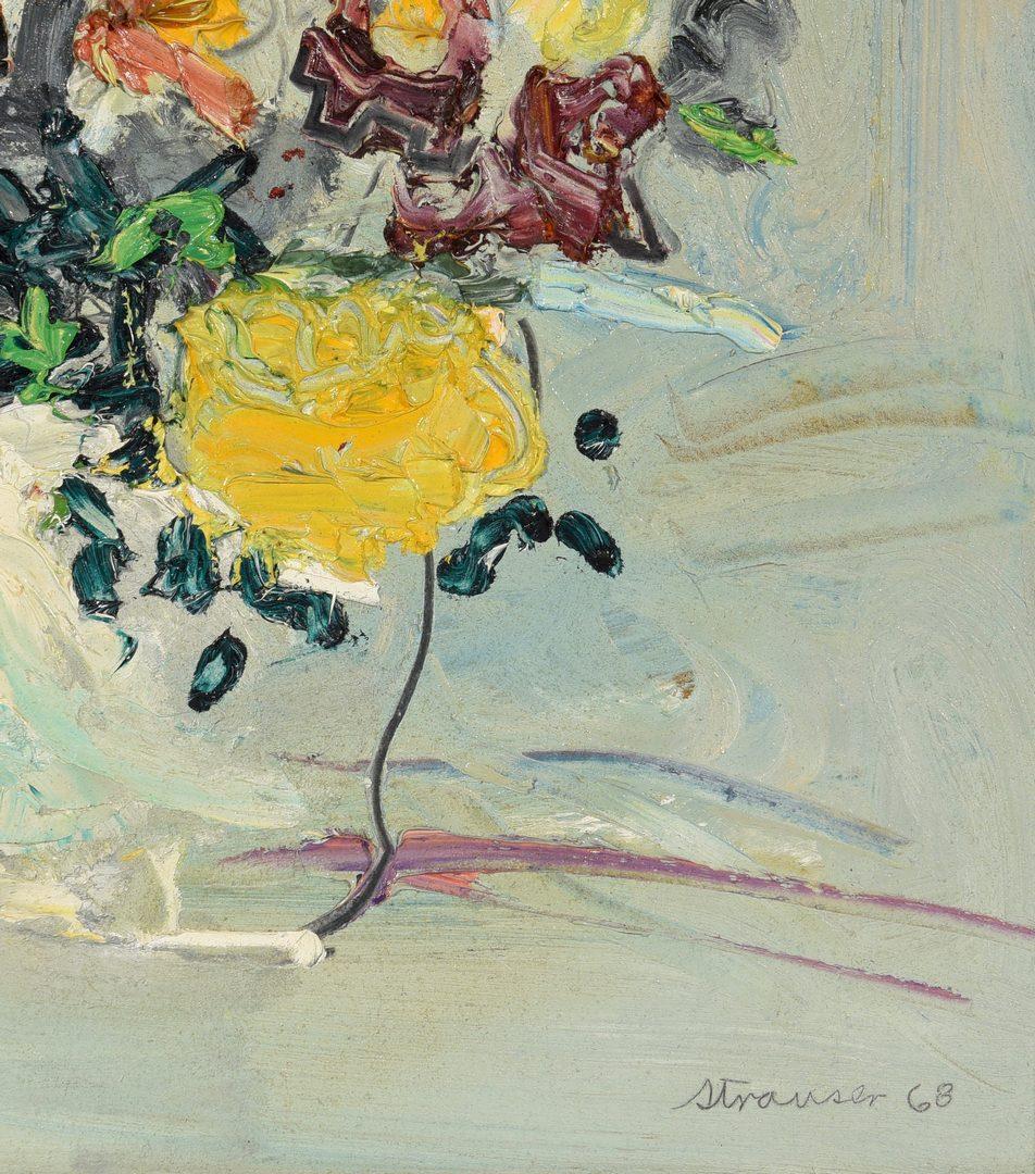 Lot 521: Sterling Strauser Oil on Board Floral Still Life