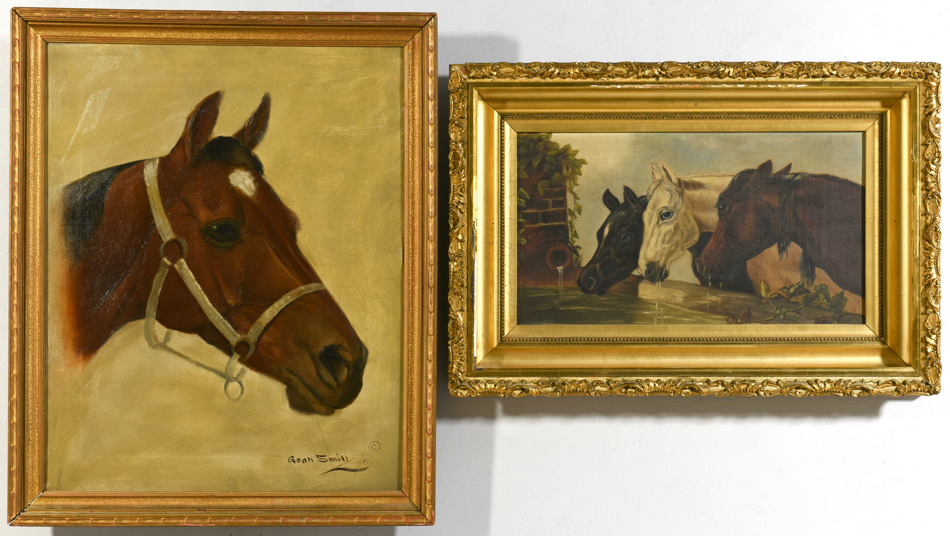 Lot 527 2 Oil On Canvas Horse Paintings Incl Gean Smith