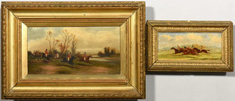 Lot 528: 2 English Fox Hunt, Racing Paintings, 19th century