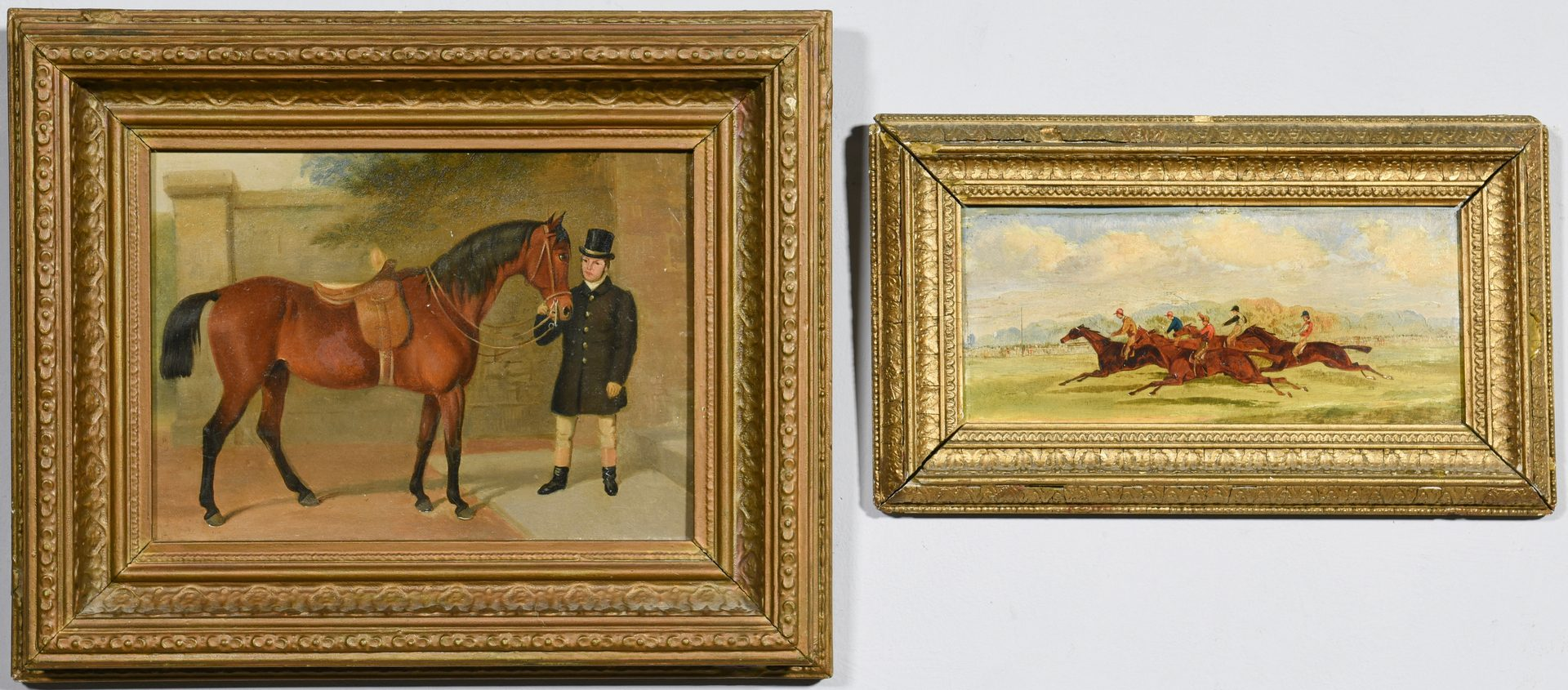 Lot 528: 2 English Fox Hunt, Racing Paintings, 19th century
