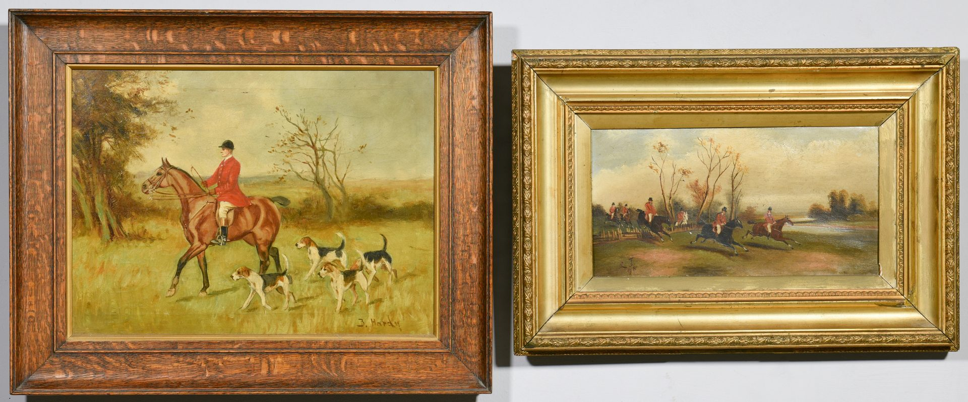Lot 529: 4 19th century English Paintings, Horses & Fox Hunting