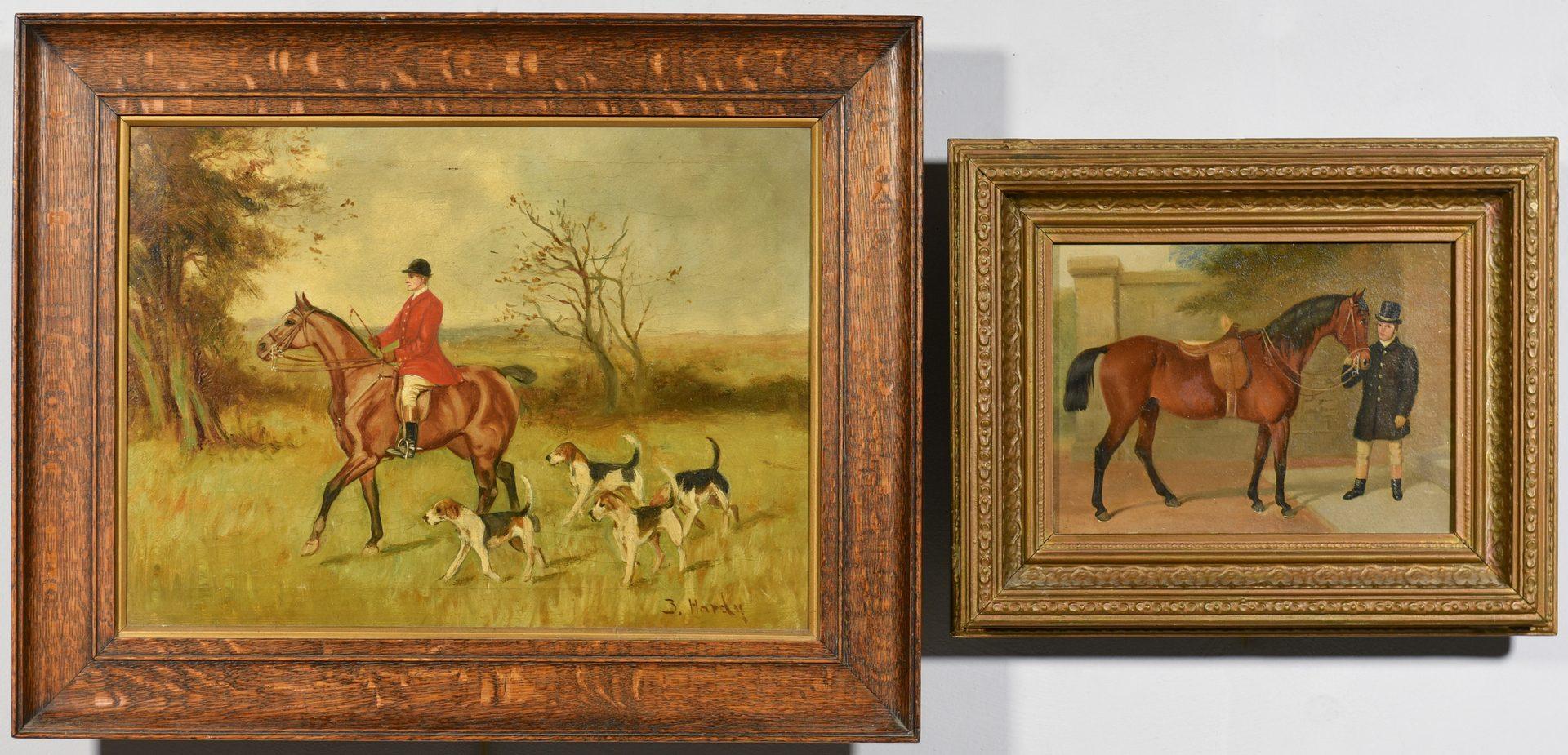 Lot 529: 4 19th century English Paintings, Horses & Fox Hunting