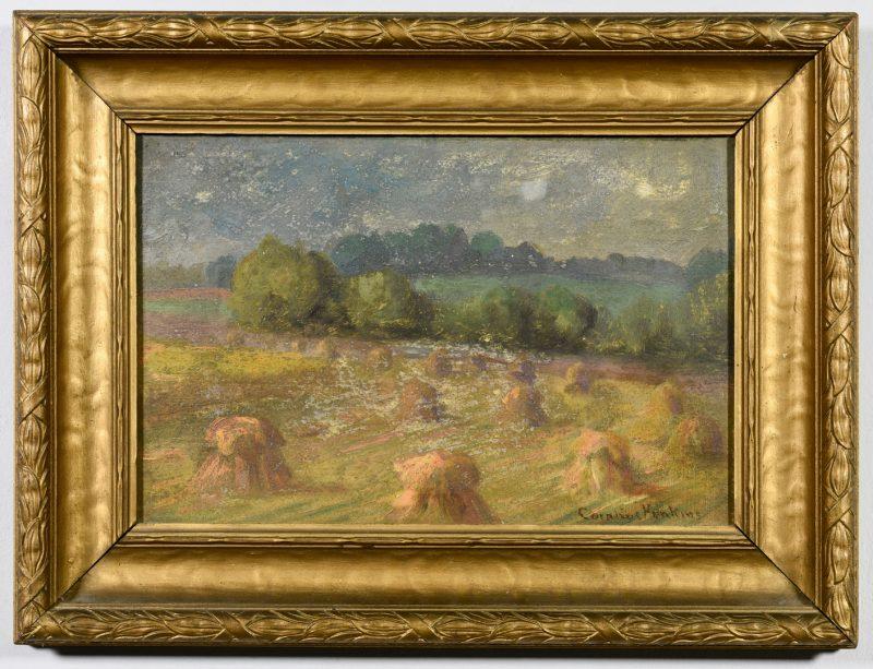 Lot 535: Cornelius Hankins Oil on Board Landscape