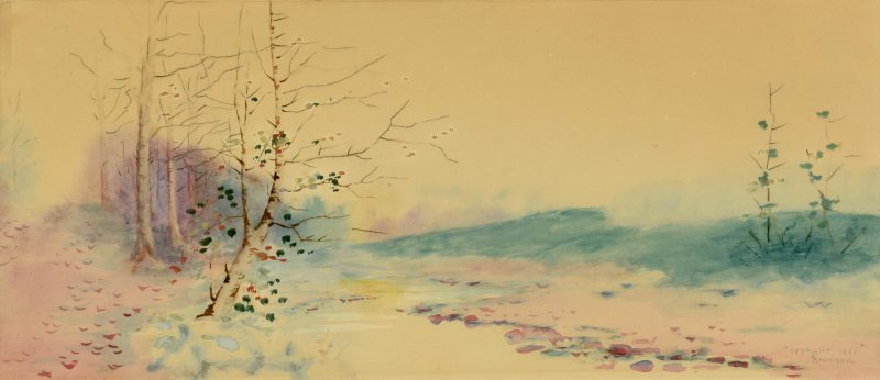 Lot 537: Lloyd Branson Panoramic Watercolor Landscape