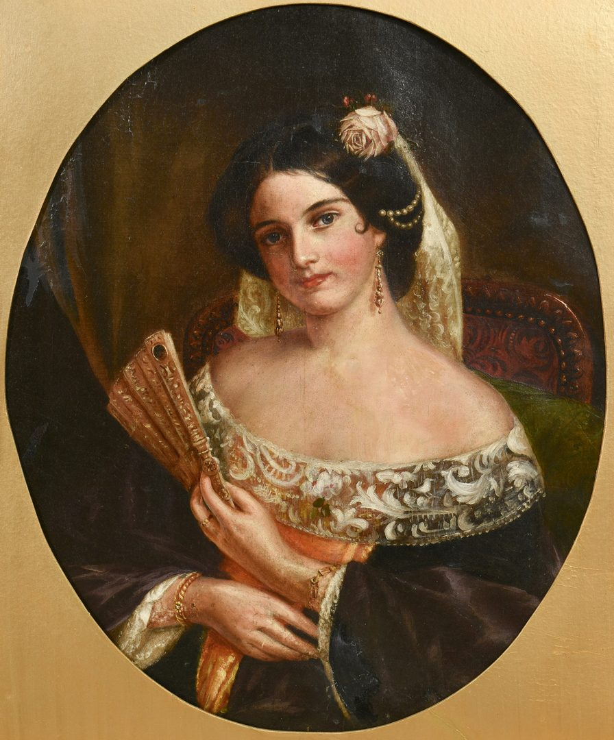 Lot 539: Attr. Geo. Dury, portrait of woman with fan